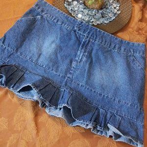 Mossimo Ruffle Bottom Denim Mini Skirt